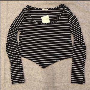 Olivia Rae Striped Long Sleeve Crop Top